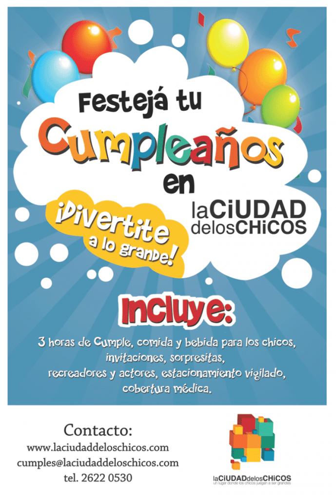 """Folleto """"Festejá tu cumpleaños"""" LA CIUDAD DE LOS CHICOS"""